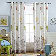 Melodieux Hot Air Balloon Window Thermal Insulated Grommet Top Curtains Kids Room, 52 84 inch, Cream White/Coffee (1 Panel)