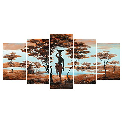 GEVES African Tribe House Beauty Landscape Giclee Canvas Prints Artwork Paintings Pictures on Canvas Wall Art for Living Room Home Decoration Framed (House Pictures)