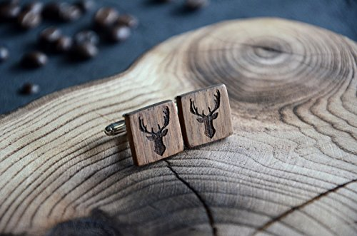 Cufflink for men Fathers Day gift wood Personalized Engraved Deer Elk Anchor blanks Animal design Groom Custom Engraved husband gift Present for him - By Enjoy The Wood
