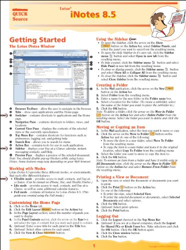 Lotus iNotes 8.5 Quick Source Reference Guide