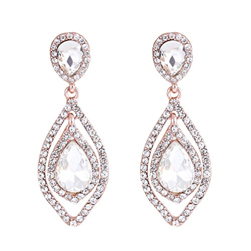 NLCAC Women Pear Shape Crystal Earrings Dangle Teardrop Rhinestone Chandelier Bridal Earring for Wedding (clear crystal rose gold plated) ()