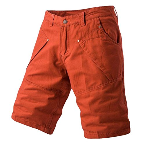 PASATO 2018 New Hot! Fashion Mens Casual Pocket Beach Work Casual Short Trouser, Classic Shorts Pants(Red, 34) by PASATO