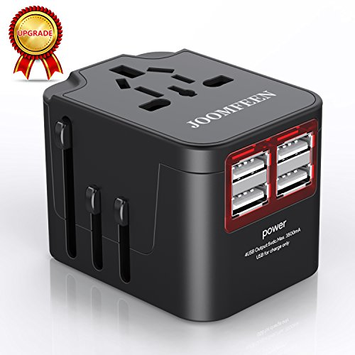 Travel Adapter,JOOMFEEN Universal Travel Power adapter Worldwide All in One AC Power Plug International Wall Charger with 4 USB Charging Ports for US EU AU UK & Europe Cell Phone (4 Usb Power Adapter)