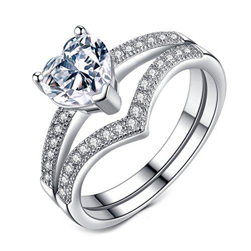 VIKI LYNN Promise Rings for Her 1ct Heart Cubic Zirconia 925 Sterling Silver Wedding Engagement Rings by VIKI LYNN