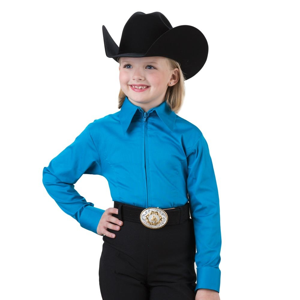 Girls Turquoise Zip Front Competition Top