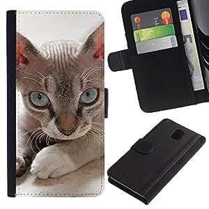 eJoy---La carpeta del tirón la caja de cuero de alta calidad de la PU Caso protector - Samsung Galaxy Note 3 III - --Devon Rex Donskoy Sphynx Minskin