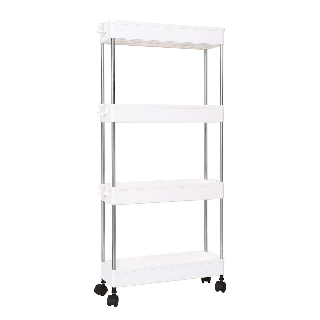 uxcell 4 Tiers Gap Storage Organizer Rack Shelf with Wheels, Slide Out Fridge Storage Tower Rack Slim Gap Storage Cart for Laundry/Bathroom/Kitchen, White