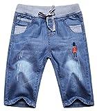 Cromoncent Boys Elastic Waist Drawstring Print Faded Capri Jeans Denim Shotrs Denim Blue 7/8