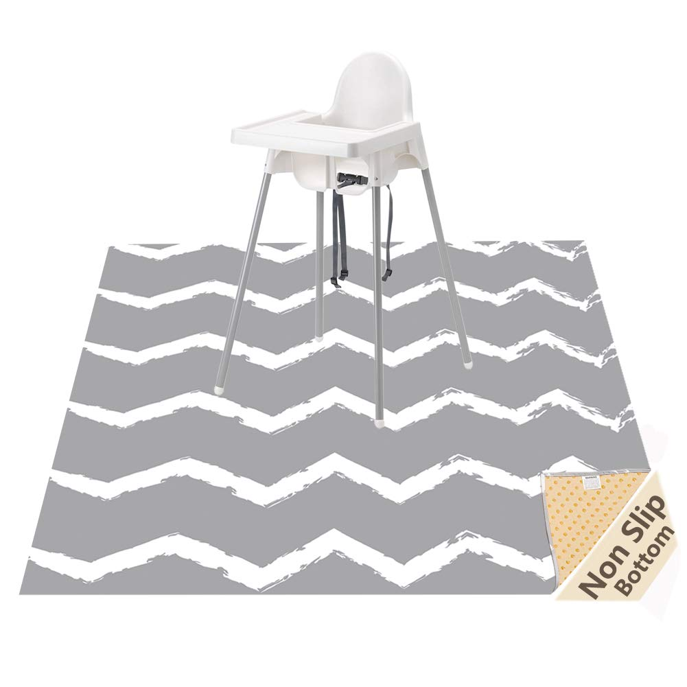 Large Splat Mat for Under High Chair/Arts/Crafts, WOMUMON Washable, Waterproof, Non Slip, Portable Floor Protector for Baby, Kids, Durable Spill, Splash Mat for Pet (Chevron)