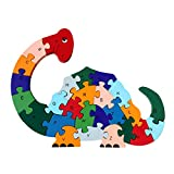 Meliya Colorful Chunky Wooden Animal Letters and Numbers Jigsaw Puzzles Preschool Learning Toys, Dinosau