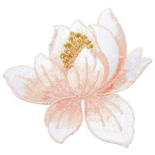 Souarts 蓮の花 アップリケ ワッペン アイロン接着 刺繍 飾り パッチ アクセサリーパーツ ライトピンクの商品画像