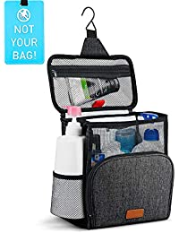 Hanging Toiletry Bag, Shower Caddy Tote Bag (Updated Version, Full Size Bottle Compatible), Bath Organizer for College Dorms, Gym, Camp, Women Men, with Funny Luggage Tag