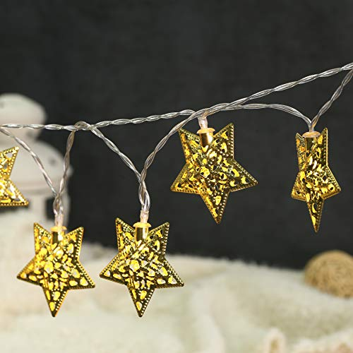 Twinkle Lights Star Christmas Lights String,BUSOH Mini 3D Fairy Light [ 6.56 FT 20 LED ] Battery Operated Boho Led Star String Lights for Christmas/Indoor Outdoor Decor/Bedroom/Festival/Party/Patio