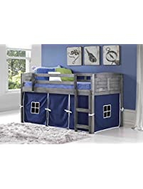 donco kids louvered low loft with blue tent twin - Twin Bed Frames For Kids