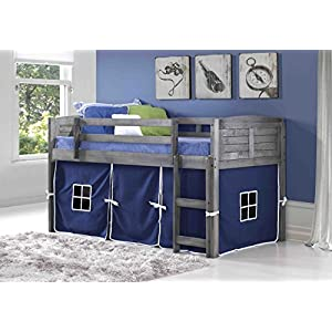 Donco Kids 790-AAG-750C-TB Louver Low Loft Bed with Blue Tent 12