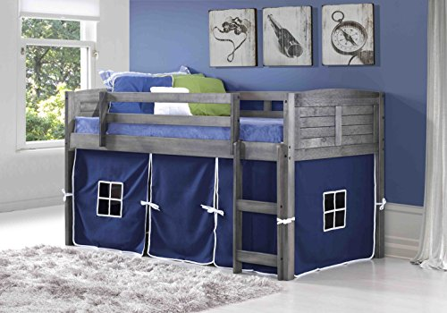 DONCO KIDS Louvered Low Loft with Blue Tent , Twin by Donco Kids