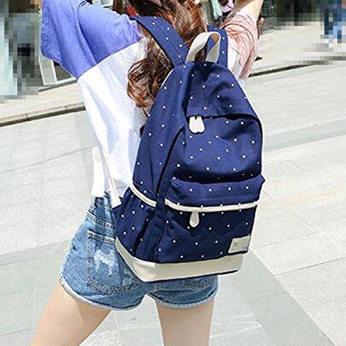 Las Mujeres Las Niñas De La Moda Punto Mochila 3 Piezas De Los Conjuntos De Viaje Mochila Bolsa De La Escuela Bolsas Saténes Multicolor Blue