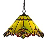 Bieye L10060 17-inches Baroque Tiffany Style Stained Glass Ceiling Pendant Fixture (Green) For Sale