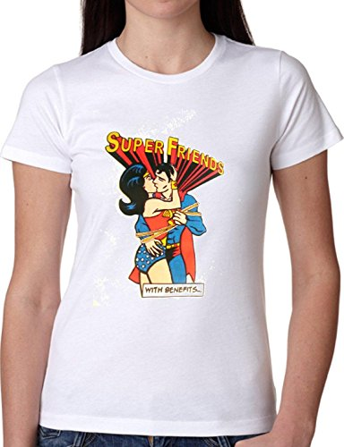 T SHIRT JODE GIRL GGG22 Z0732 SUPER FRIENDS KISS LOVE COMICS CARTOON FASHION COOL BIANCA - WHITE S