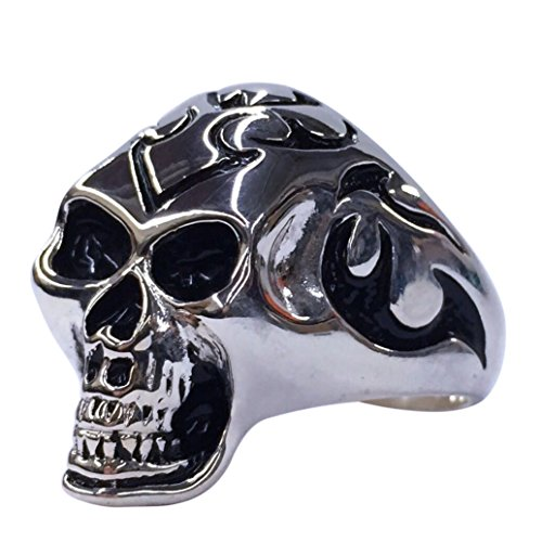 Sons Of Anarchy Halloween Costume (Halloween Costume Skull Ring Stainless Steel - Biker, Rocker, SOA, Gothic Skull Ring for Men Tribal Size 9, 11, 13 (11))