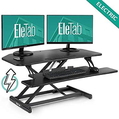"""EleTab Electric Standing Desk Converter - Height Adjustable Sit Stand Desk Riser Stand up Desktop 37"""" Tabletop Workstation"""