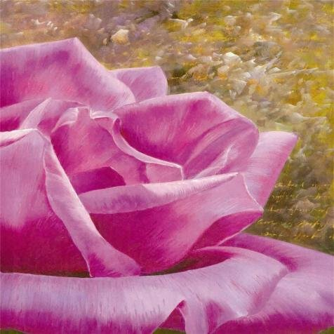 'Pink Rose, Right Part' Oil Painting, 16x16 Inch / 41x41 Cm ,printed On Perfect Effect Canvas ,this High Resolution Art Decorative Prints On Canvas Is Perfectly Suitalbe For Nursery Decoration And Home Gallery Art And Gifts ()