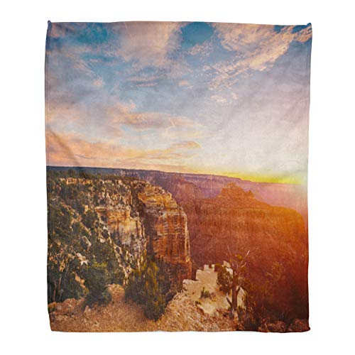 (Emvency Throw Blanket Warm Cozy Print Flannel The River Colorado Through Grand Canyon at Sunset National Park Arizona USA Comfortable Soft for Bed Sofa and Couch 60x80 Inches)