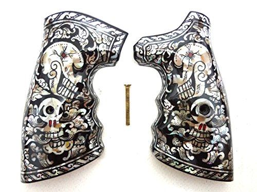 Sri Lanna Mother of Pearl Inlay S&W .38 .357 K or L Frame Square Butt Grips Black Skull