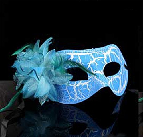 Mardi Gras Party Masquerade Mask,Halloween Party cos mask Makeup Dance Color Show mask Female Flat Cracked kadan Eye mask Blue Prom Masks -
