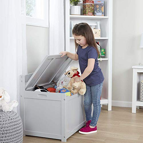Melissa & Doug Wooden Toy Chest, Sturdy Wooden Chest (4.5 Cubic Feet of Storage, Easy to Assemble, Gray, Great Gift for Girls and Boys - Best for 3, 4, 5 Year Olds and Up)