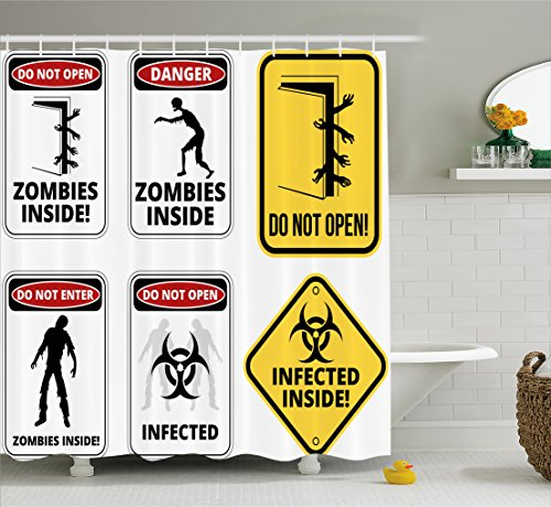 Ambesonne Zombie Shower Curtain, Warning Signs for Evil Creatures Paranormal Construction Design Do Not Open Artwork, Fabric Bathroom Decor Set with Hooks, 105 Inches Extra Wide, Multicolor by Ambesonne