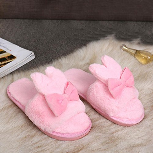 Lapin Flip Famille Confortable Femme Peluche Pantoufle Doux Chaussons Sandales Pantoufles Faux Fourrure Rose Des Fiasco Oreilles De Antidérapant Noeud Papillon Chaussures SOMESUN Chaud wqxXadgnPq