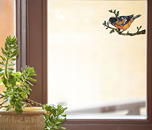 Garden Oriole (Bird - Oriole Perched on Branch - Stained Glass Style See-Through Vinyl Window Decal - Copyright 2015 Yadda-Yadda Design Co. (SM 3.2