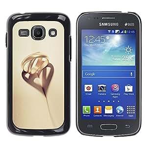 TopCaseStore / la caja del caucho duro de la cubierta de protección de la piel - Romantic Beige Gold Heart Love - Samsung Galaxy Ace 3 GT-S7270 GT-S7275 GT-S7272