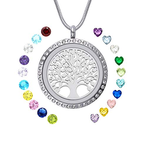 WIGERLON Family Tree of Living Memory Lockets Stainless Steel Necklace Pendant with Birthstones Gifts for Your Love ()