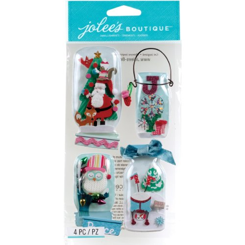 Jolee's Boutique Stickers, Holiday Snow Globe Jars