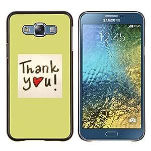 """Be-Star Único Patrón Plástico Duro Fundas Cover Cubre Hard Case Cover Para Samsung Galaxy E7 / SM-E700 ( Gracias corazón"""" )"""