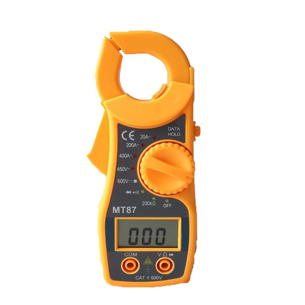 ReFaXi Medidor de Pinza Digital Multímetros Voltio Amperio Ohm AC/DC Voltímetro Probadores de Resistencia de Corriente MT87 (Amarillo)