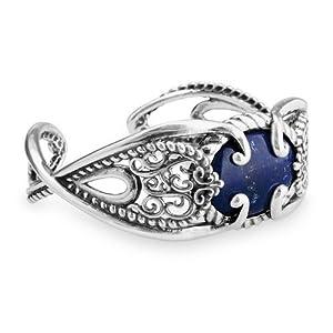 Relios Sterling Silver Lapis Statement Cuff Bracelet - Medium by Relios