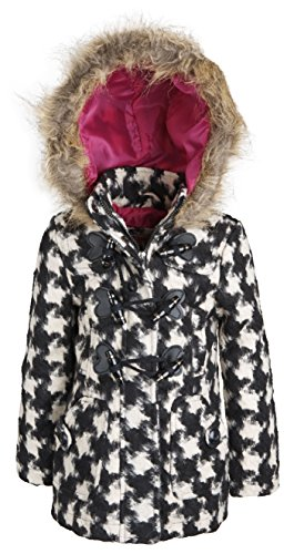 - Urban Republic Baby Girls Classic Wool Blend Hooded Winter Toggle Peacoat - Plaid 15 (24 Months)