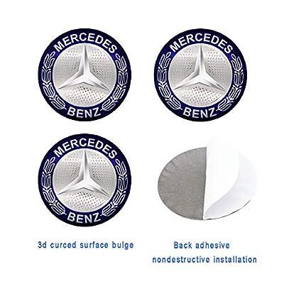 Car concentration camp 4PCS 56mm Blue Wheel Center Hub Caps Decals Emblem Stickers Fit for Mercedes-Benz with Bonus Tire Valve Stem Caps Cover Set: Automotive
