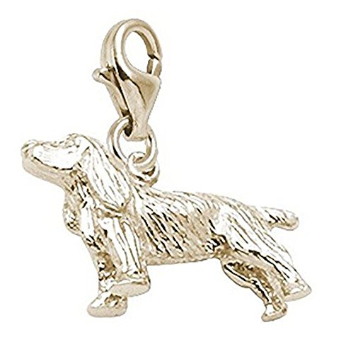 14K Yellow Gold Springer Spaniel Charm With Lobster Claw Clasp, Charms for Bracelets and Necklaces