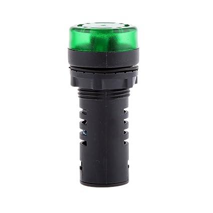 LED Flash Alarma Indicador Lámpara de Señal Con Zumbador AD16-22SM 12V Verde Rojo - Verde