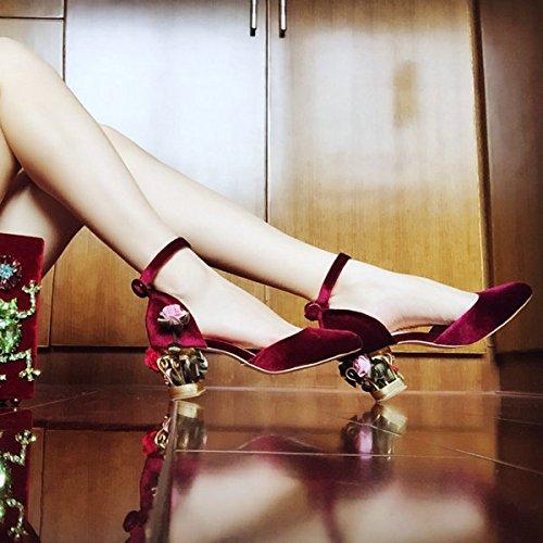 Chaussures cage en cuir avec magnifiques fleurs roses métalliques avec velours Court shoes Chaussures de mariage , 36