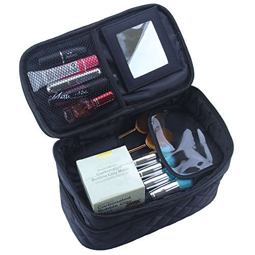Travelmall Makeup Case Cosmetic Makeup bag Brush Holder Organizer large double layer Makeup pouch with Mirror And Belt Strap for Cosmetics Beauty accessories, Jewelry,Toiletries Travel Accessories