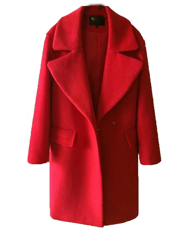 Sheng Xi Women's Turndown Collar Loose Thick Warm Woolen Coat