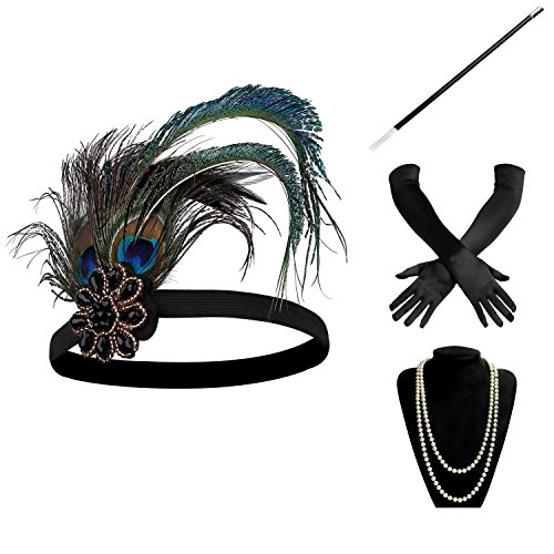 Great Adult Costumes (BABEYOND 1920s Flapper Gatsby Costume accessories Set 20s Flapper Headband Pearl Necklace Gloves Cigarette Holder (Set-10))