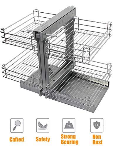 - Kitchen Hardware Collection 26 Inch Blind Corner Organizer Cabinet Pull Out Sliding Organizer 2 Tier Kitchen Dish Spice Pan Rack 19