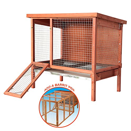 Beaks And Paws B&P Natural Wooden Large Rabbit Hutch - Ferrets House Guinea Pig Cage Small Pet House for Indoor/Outdoor Use (XXL, Large Pet Hutch)