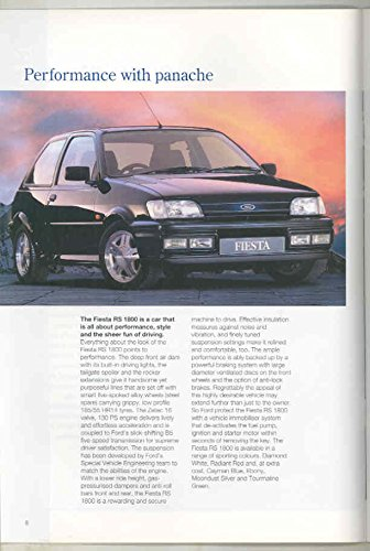 Amazon.com: 1993 Ford Fiesta RS Rallye Sport Escort Cosworth RS1800 RS2000 Brochure: Entertainment Collectibles